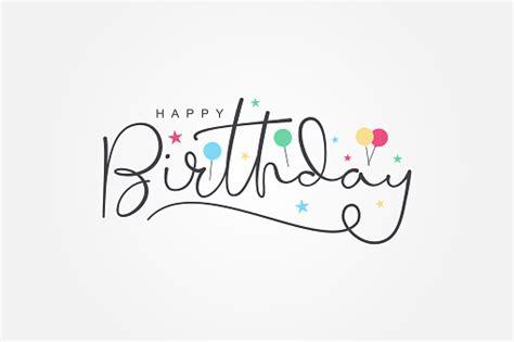 isolated modern calligraphy  happy birthday  black