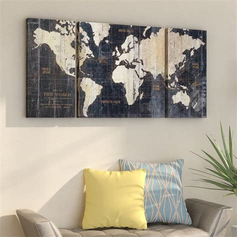 mercury row  world map blue  piece graphic art print