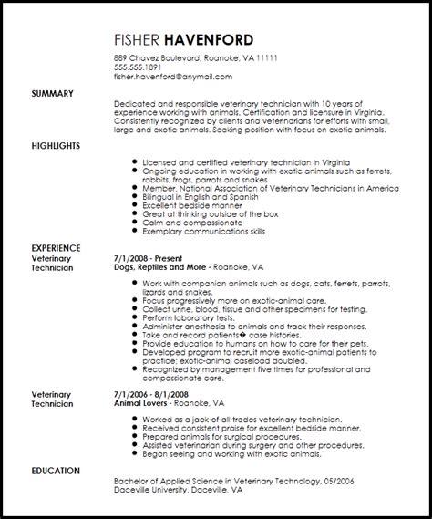 professional veterinary technician resume template