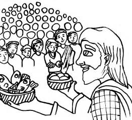 coloring page of jesus feeding the 5000 images
