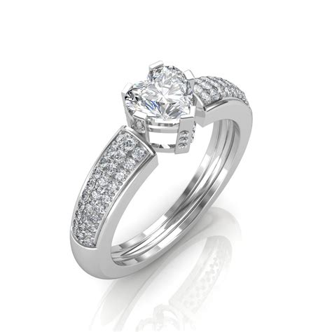 0 68 carat 18k white gold beautiful heart engagement