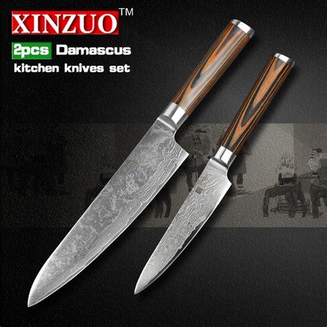 Quality Kitchen Knives by Xinzuo 2 Pcs Kitchen Knives Set Damascus Kitchen Knife
