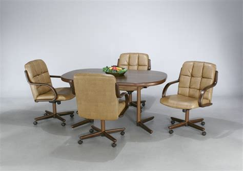 dining table with rolling chairs rolling dining room chair sets dining chairs design