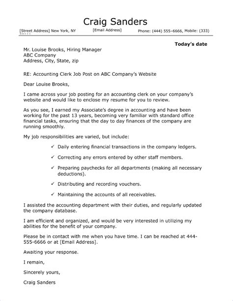finance clerk cover letter sles accounting cover letter sle