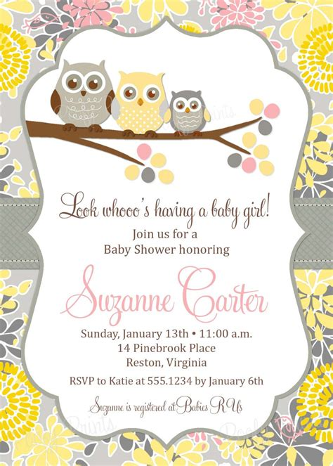 owl baby shower invitations diy printable baby girl