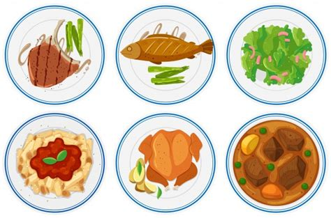 different types of cuisine different types of food on the plates illustration vector free