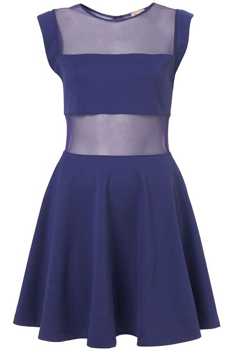 topshop blue bust panel skater dress  dress  topshop