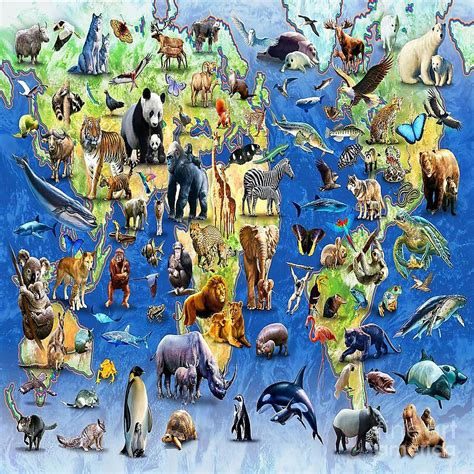 Animal Map Of The World Wallpaper - endangered species world map digital by spencer mckain