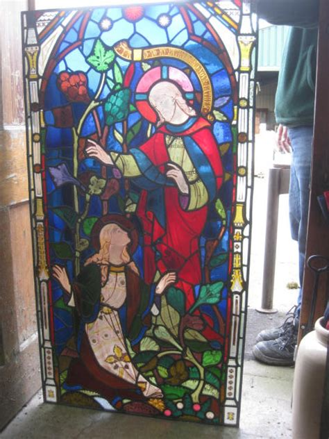large religious stained glass panel