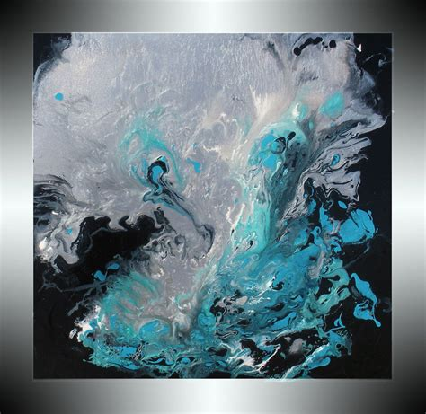 Abstract Black And Blue Painting by Reserved For Karlyn Only Painting Metallic Silver