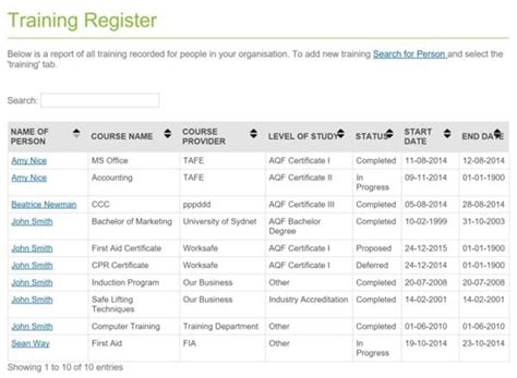 employee training register templates word excel formats