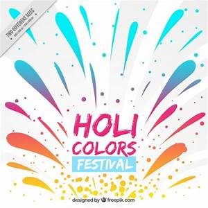Holi festival background with colorful splatters Vector ...