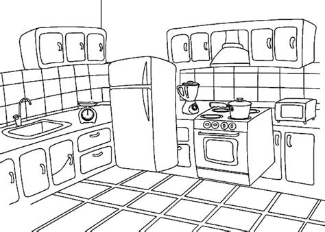 draw kitchen coloring pages  print