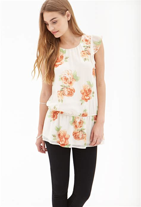 chiffon blouse forever 21 ruffled floral chiffon blouse in orange blush