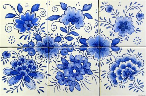 Azulejo Blue and White Delft Blue Tile Murals Glass by Julia