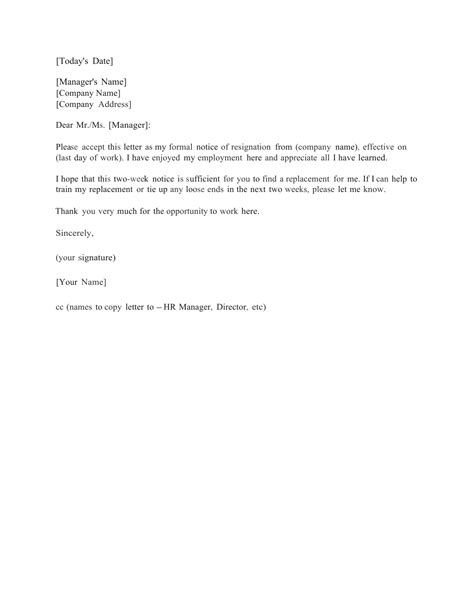 2 Weeks Notice Template Standard Two 2 Weeks Notice Letter Template And