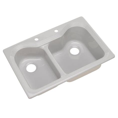 thermocast breckenridge drop in acrylic 33 in 2 basin kitchen sink in gray