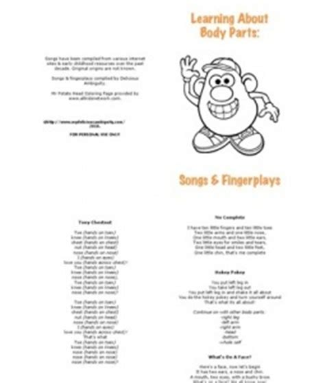 learning about parts song book preschool activities 576 | ae7a5a0d2df8ca2027ef2b9fe82f5029