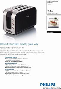 Philips Hd2686  92 Toaster User Manual Leaflet Hd2686 92