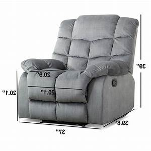 Fabric Recliner Chair Overstuffed Manual Reclining Couch Sof