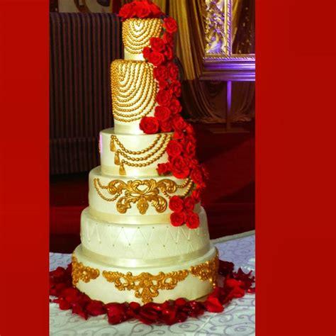 red ivory  gold wedding cake cake  tomyka cakesdecor