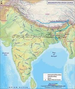Brahmaputra River Map showing the course or the route of ...