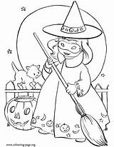 Halloween Coloring Witch Printable Sheets Happy Azcoloring Wearing Preschool sketch template