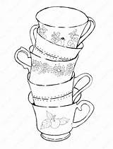 Tea Coloring Cup Teacup Pages Printable Cups Teacups Getcolorings Getdrawings Adults Pag Dishes Colorings sketch template