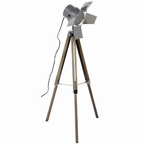 wooden base and chrome head film light melody maisonr With chrome camera floor lamp