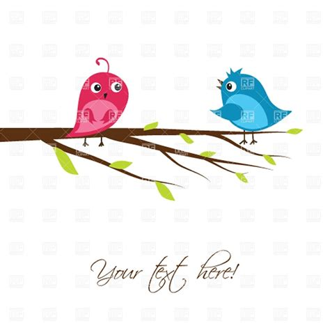 Birds On Tree Branches Clip Art