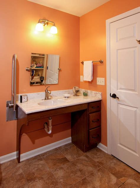 Wheelchair Accessible Sink Bathroom by W C Accessible Bathroom By Bauscher Construction Of