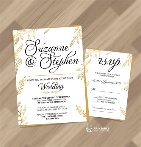 Gold Leaves Foliage Themed Wedding Invitation and RSVP
