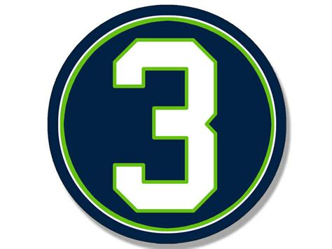 4x4 Inch Round #3 Seahawks Colors Sticker -decal Seattle