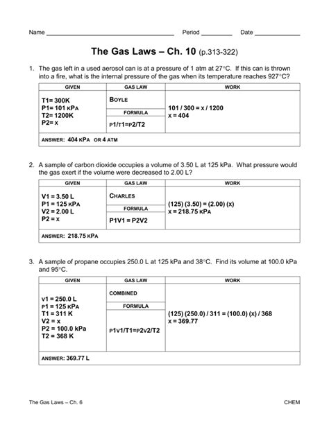 Gas Law Worksheets With Answers  Kidz Activities