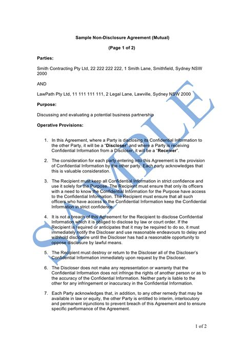 disclosure agreement sample lawpath