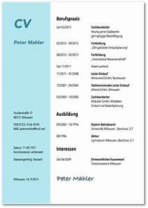 Lebenslauf vorlagen tipps und gratis word muster for Kurzvita vorlage
