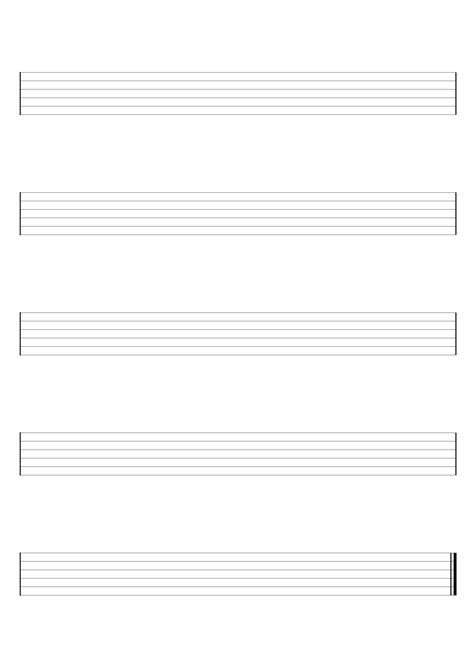 Blank Guitar, Ukulele and Bass Sheet Music For Hand Writing Guitar Tab or Chord Charts - Free ...