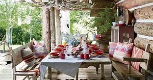 Rustic bohemian porch with kilim details from Ralph