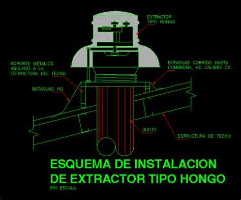 detalle de extractor tipo hongo en autocad cad  kb