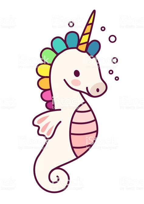 cute sea horse unicorn  purple mane simple cartoon
