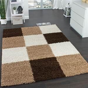 Teppich Rund Braun : shaggy teppich hochflor langflor gemustert in karo braun ~ Lateststills.com Haus und Dekorationen