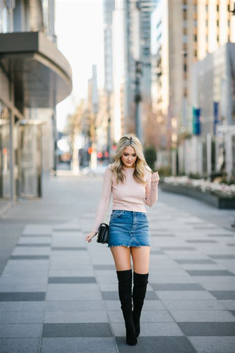 cropped sweater  denim mini skirt