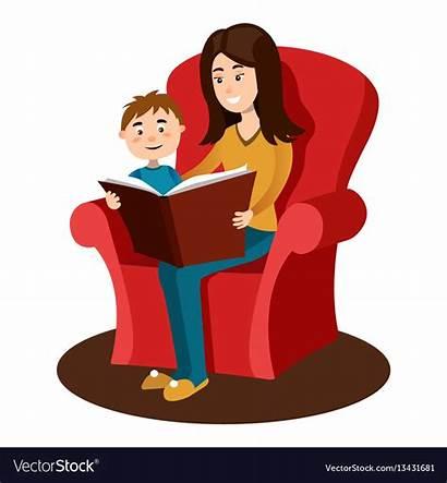Reading Cartoon Child Read Mother Vector Clipart