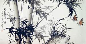 Bamboo and Double Sparrows - Chinese bamboo painting
