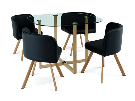 ensemble table et chaises deco in ensemble table 4 chaises encastrable noir