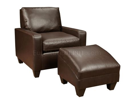 chocolate bonded leather modern chair ottoman set