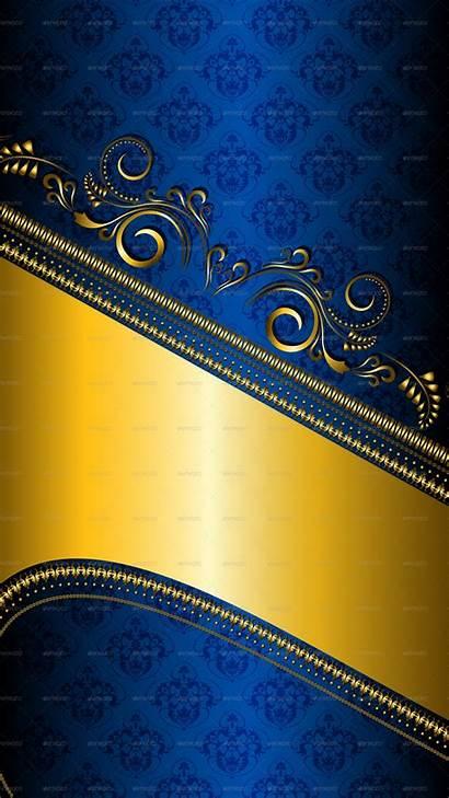Gold Background Desktop Patterned Border Navy Floral