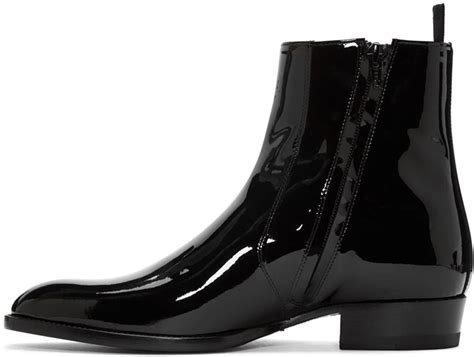Saint Laurent Black Patent Leather Hedi Boots In Black For