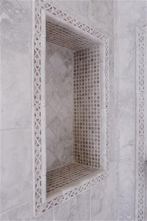 Shower niche, border around outside of pencil trim #
