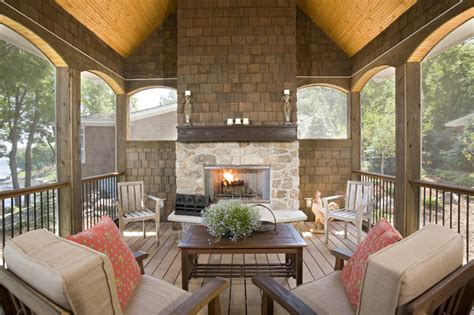 screened porch with fireplace screen porch